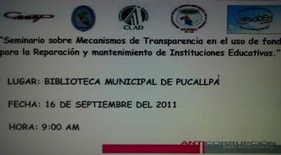 Seminario: Mecanismos de Transparencia en reparación y mantenimiento de Instituciones Educativas